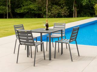 This rectangular 0.76m aluminium set has an HPL table top & comes in a choice of colours with a number of seating options.