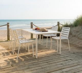 This spacious 1.56m aluminium set has an HPL table top & comes in a choice of colours with a number of seating options.