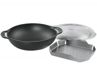 A cast iron wok for the Gourmet BBQ System with a steaming rack & lid.
