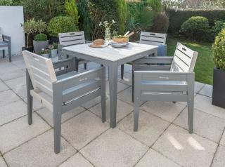 This grey painted four seat set is made from eucalyptus hardwood.