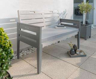 This grey painted eucalyptus hardwood bench would make a handy seat for two.