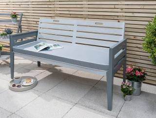 This vintage look grey painted hardwood bench would make a great addition to the garden.