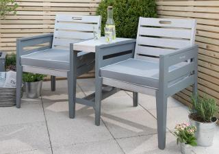 Norfolk Leisure Florenity Grigio Tete a Tete Bench with Cushions