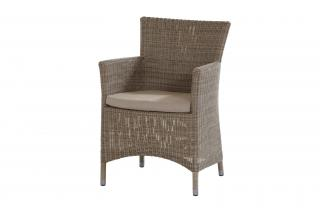 A lightweight resin weave dining armchair in Polyloom Olive with an all weather seat cushion.