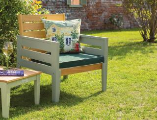 This painted eucalyptus hardwood chair can be used on its own or combined with a table to make a garden set.
