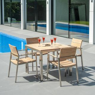 A contemporary set for four with a hardwood square garden table & armchairs.