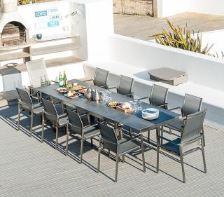 This contemporary set has a ceramic topped extending dining table & will seat up to ten.
