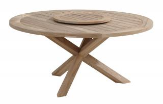 4 Seasons Outdoor Louvre Round Teak Top Dining Table 1.6m