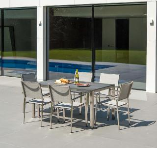 A contemporary set for six in a choice of colours with a ceramic topped dining table & a choice of chairs.