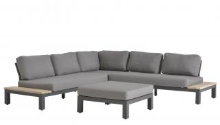 This modular aluminium & teak sofa set has in-built tables on either end & comes with deep, all weather olefin cushions.