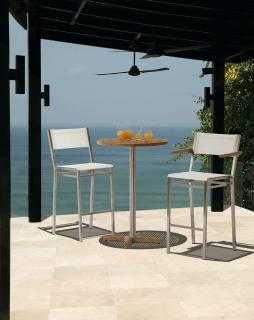 Barlow Tyrie Equinox High Dining Bistro Set with Teak Table Top