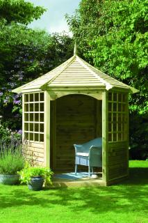 This Gazebo features an open front, sheltered rear and comes with three benches.