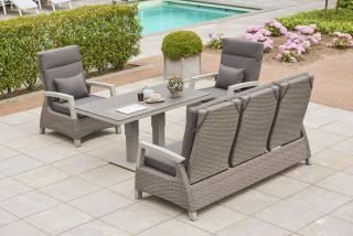 LIFE Outdoor Living Aloha Lounge Set in Camel Weave with Matt Grey Frame