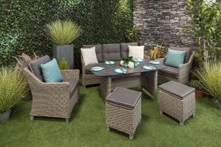 This versatile high dining lounge set in grey can be used for family dining or entertaining.