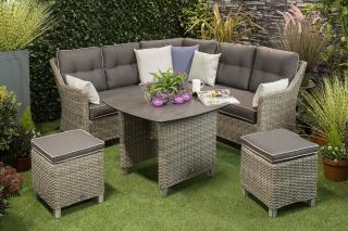 This beautiful corner set in grey resin weave can be used for relaxing & dining.