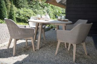 This attractive round dining set has teak legs with Hularo weave chairs, ideal for a small patio & easy to maintain.