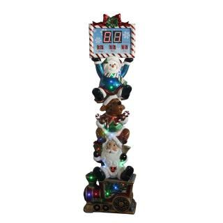 Outdoor 198cm LED Stacked Santa, Reindeer & Snowman Countdown to Christmas Clock