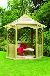 The Burford Gazebo is light and airey and comes supplied with three benches.