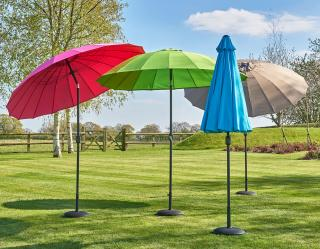 This stunning range of multi- rib parasols come in a choice of bright colours.
