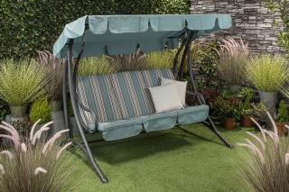Relax on this padded, powder coated steel garden swing seat.