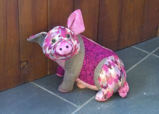 Dora Designs Patchwork Pig Doorstop