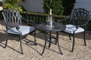 A cast aluminium set which is ideal for a small space, it comes finished in antique grey with platinum Weatherready® seat cushions.