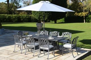 A limited edition cast aluminium 2.1m set in antique grey which seats eight & comes with Weatherready® cushions.