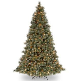 7ft Pre-lit Glittery Bristle Pine Artificial Christmas Tree