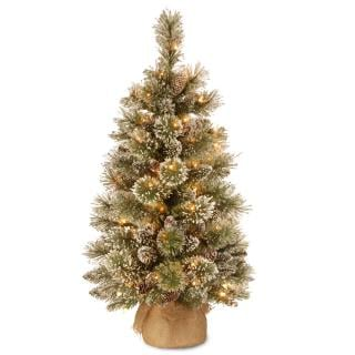 3ft Pre-lit Battery Operated Glittery Bristle Pine Burlap Artificial Christmas Tree