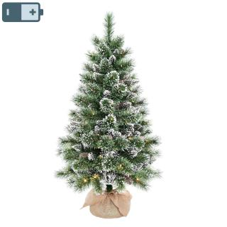 This attractive pre-lit 4ft tree has battery operated lights & a hessian covered base.