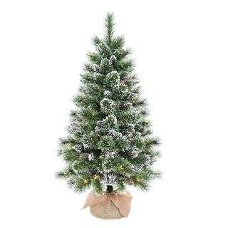 4ft Pre-lit Battery Operated Glittery Bristle Pine Burlap Artificial Christmas Tree