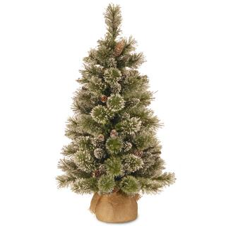 4ft Glittery Bristle Pine Burlap Artificial Christmas Tree