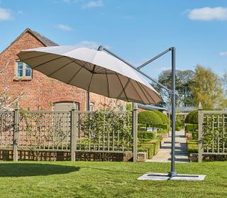 Norfolk Leisure 3m Geisha Cantilever Parasol in Grey with cross base
