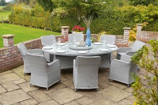 New for 2019, the stunning Supremo Genoa 220cm Elliptical Set for Eight will give you a stylish focal point in the garden.