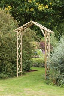 This traditional garden arch features rustic round timber.