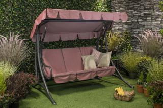 This powder coated steel swing seat is a modern twist on a traditional concept in a chic colour.