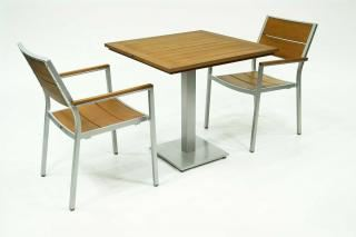 Supremo Melbourne Slat Chair with Resysta Square Bistro Table Set