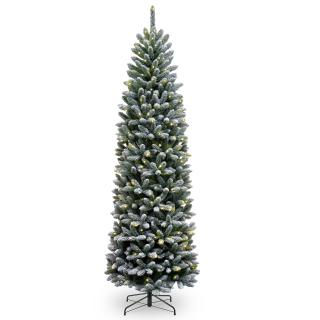 7.5ft Pre-lit Snowy Kingswood Fir Pencil Artificial Christmas Tree