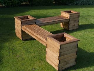 Redwood L Planter Seat