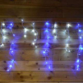 These blue & white snowing icicle lights have multi-action settings to make the snowing action faster & a 8 hour on & 16 hour off timer.