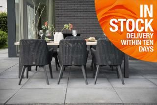 Lisboa 6 Seat Derby Dining Set in Polyloom Anthracite with Aluminium Legs