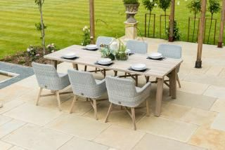 Lisboa 6 Seat Derby Dining Set in Polyloom Ice with Teak Legs