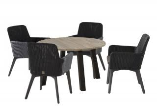 A contemporary round dining set for four with dark woven chairs & a choice of teak or aluminium legs.