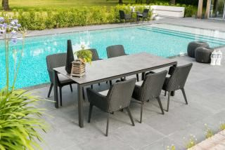 4 Seasons Outdoor Lisboa 6 Seat Rectangular Goa HPL Dining Set in Polyloom Anthracite