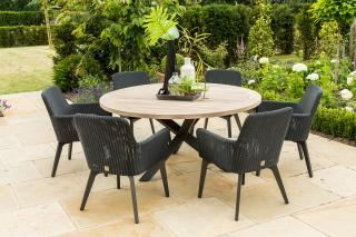 4 Seasons Outdoor Lisboa 6 Seat Louvre Dining Set in Polyloom Anthracite