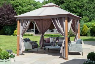 This 3m square gazebo has an aluminium frame which has a painted wood look effect & comes with polyester roof & curtains in Taupe.