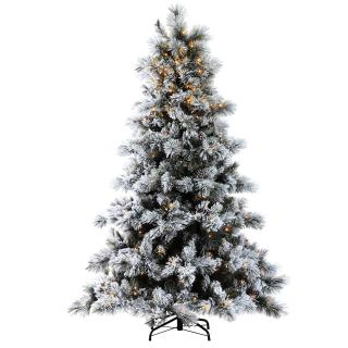6ft Pre-lit Nordic Pine Glittery Flocked Artificial Christmas Tree