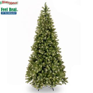 6.5ft Pre-lit Bayberry Spruce Slim Feel-Real Artificial Christmas Tree