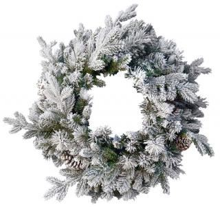 2ft Pre-lit Snowy Dorchester Pine Feel-Real Artificial Christmas Wreath