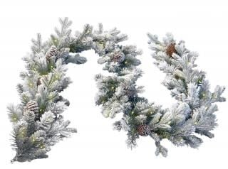 9ft Pre-lit Snowy Dorchester Pine Feel-Real Artificial Christmas Garland